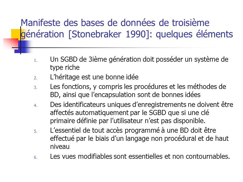 Manifeste des bases de données de troisième génération [Stonebraker 1990]: quelques éléments